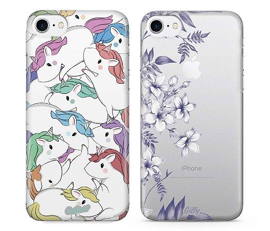 Capinhas para iPhone 8 - Unicórnios / Jasmine - Kit com 2 und