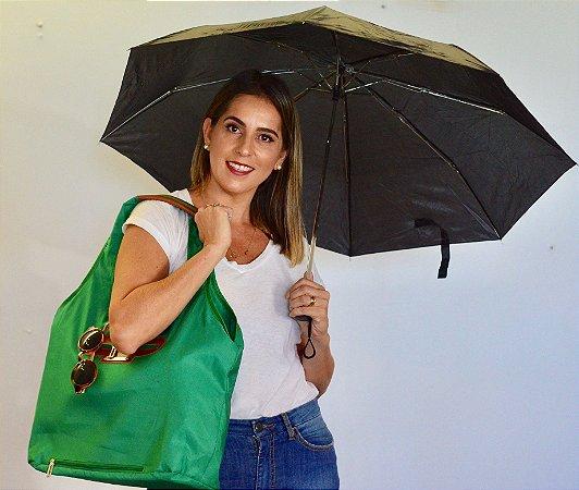 Bolsa de tecido verde nylon chuva