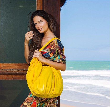 Bolsa grande de nylon amarela sol