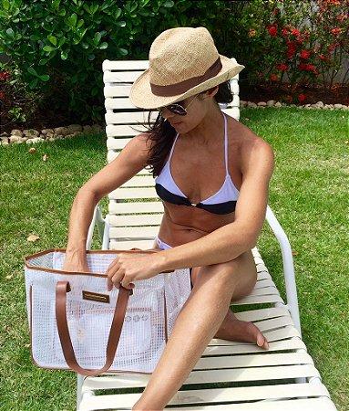 Bolsa de praia branca de tela quadrada