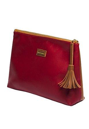 Carteira de couro vermelha bicolor