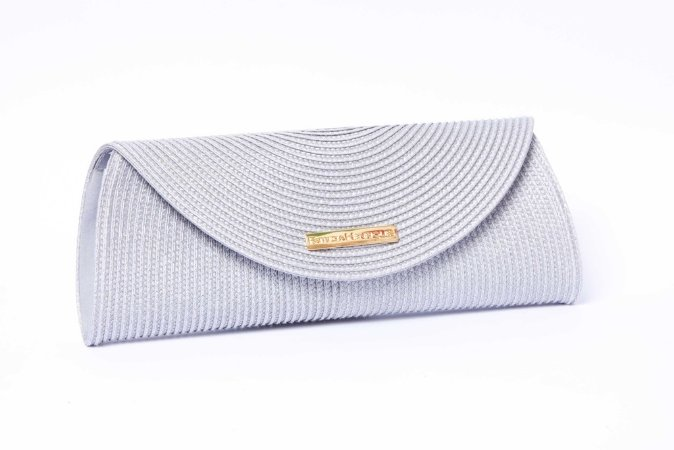 Clutch de palha prata Colorama