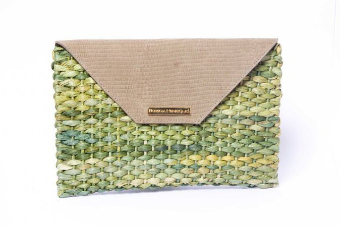Carteira palha verde milho envelope