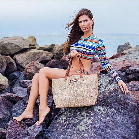 Bolsa de praia tela dupla palhinha