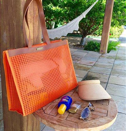 Bolsa praia em tela laranja Horizontal