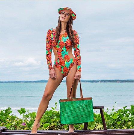 Bolsa de praia de tela verde Horizontal