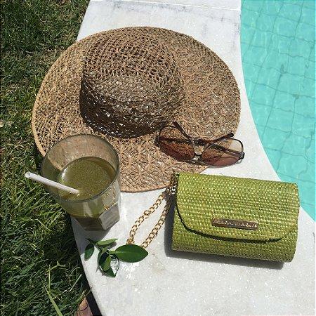 Clutch de palha verde fat