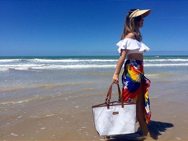 Bolsa de praia branca tela dupla