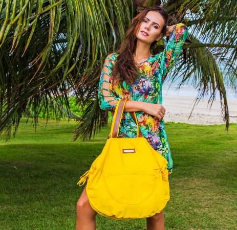 Bolsa grande amarela de nylon Bel