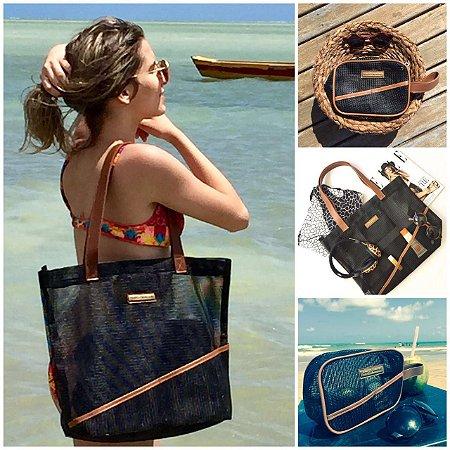 Kit bolsa de praia preta em tela leve e Necessaire preta