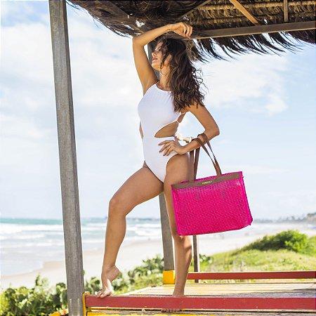 Bolsa praia em tela pink Horizontal