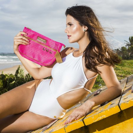 Necessaire de praia Pink em Tela