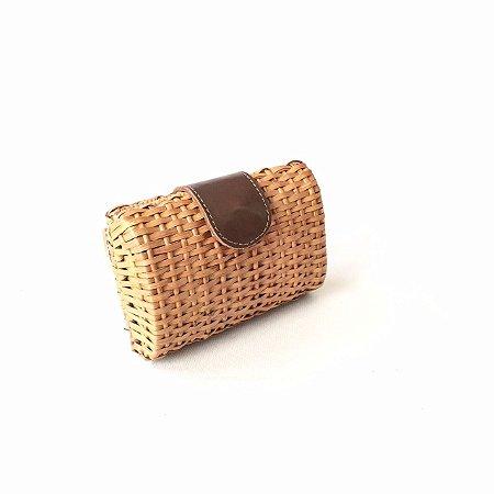 Clutch palha em vime couro chocolate box