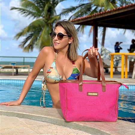 Bolsa de Praia Pink de Tela Quadrada