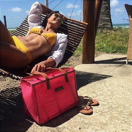 Bolsa de praia Pink em tela quadrada