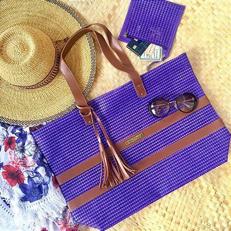 Bolsa de praia em tela Roxa Barca