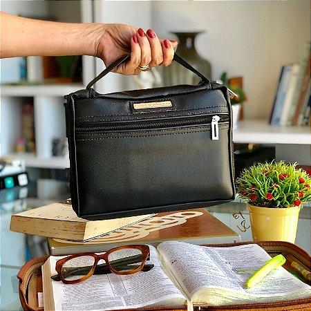 bolsa para bíblia couro preta