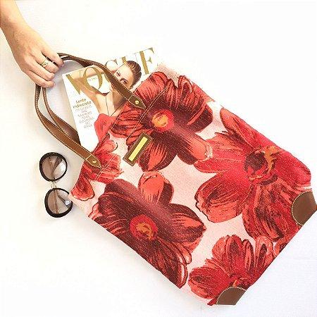 Bolsa de tecido estampa Floral Vermelha Ponteira
