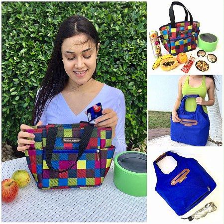 Kit bolsa termica Xadrez e bolsa Azul em Nylon Chuva