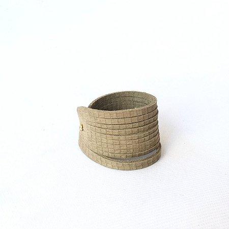 Bracelete em Couro Musgo