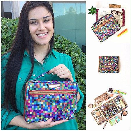 Kit bolsa para biblia e porta maquiagem em nylon estampa digital