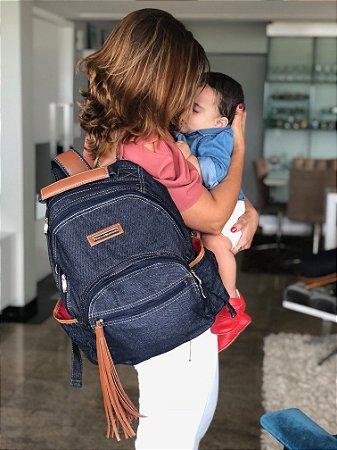 Mochila Maternidade Jeans Multi Mãe