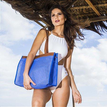 Bolsa de Praia Azul em Tela Horizontal