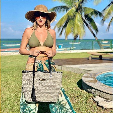 Bolsa de praia de palha tela mix