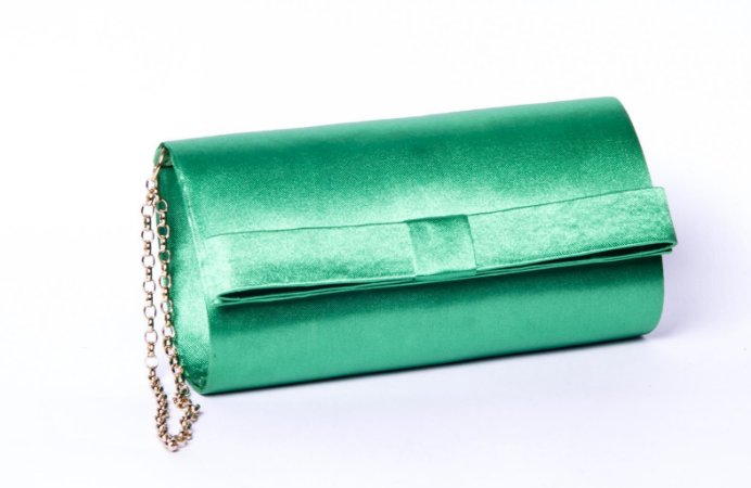 Clutch festa verde cetim mini laço