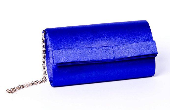 Clutch festa azul cetim mini laço