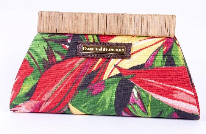 Carteira tecido e palha folhas africa