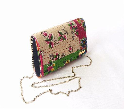 Bolsa de tecido colorido patchwork