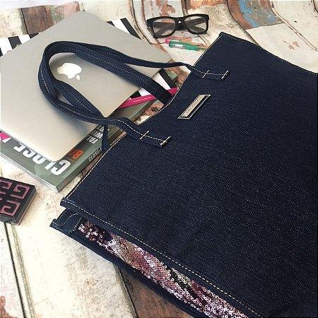 Bolsa Jeans Paetes Furta Cor Luxo