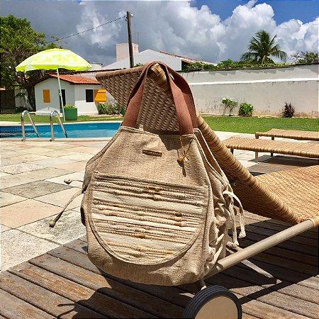 Bolsa de Tecido e Bambu nude Bel.