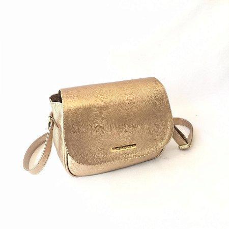 Bolsa tira colo dourada glamur