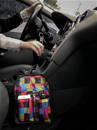 Lixeira para Carro xadrez colorido