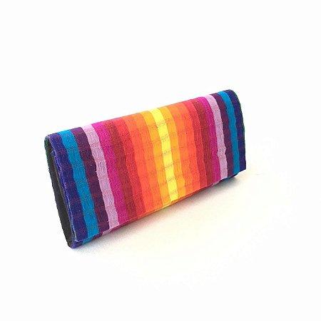 Carteira de listras colorida Arco-Irís