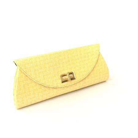 Carteira palha amarela Fecho quadrada