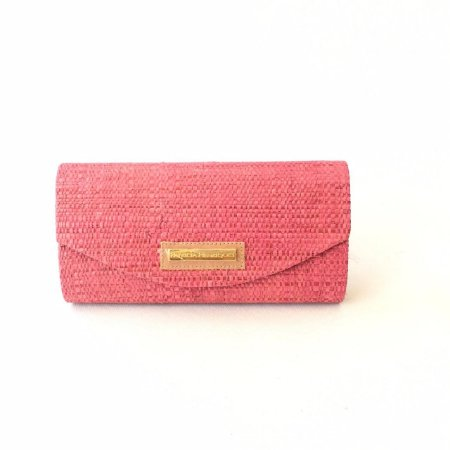 Clutch de palha Pink stamp