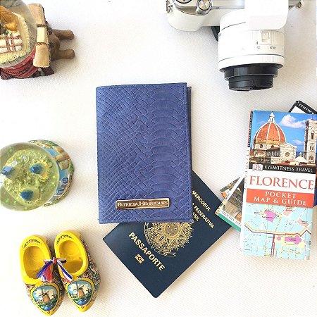 Capa para passaporte em couro azul