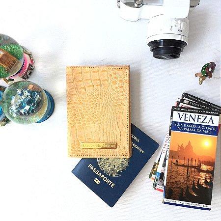 Capa para passaporte em couro natural croco