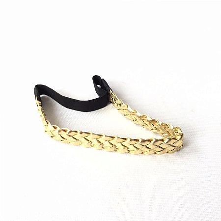 Tiara Elástico Trece Dourada