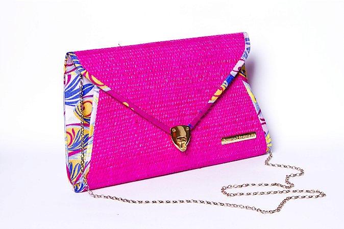Bolsa de palha pink com friso estampa