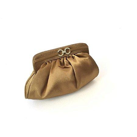 Clutch de festa ouro velho cetim mini soft
