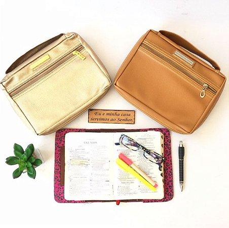 Kit com 2 Bolsas para Biblia em couro ecologico