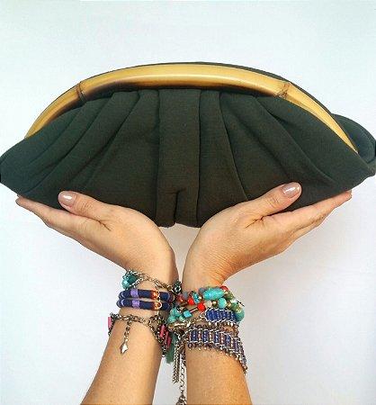 Carteira de tecido verde com Bambu Arco