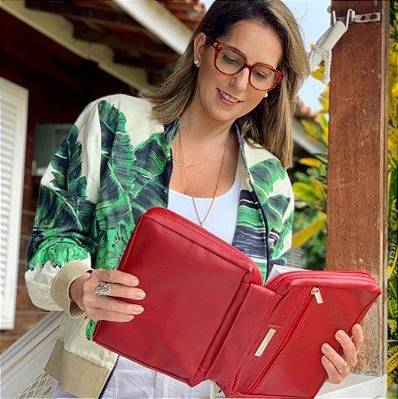 Bolsa para Biblia Couro Vermelha