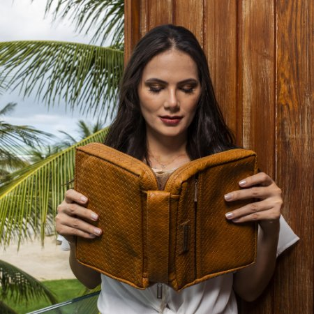 Bolsa para biblia couro Caramelo Trece
