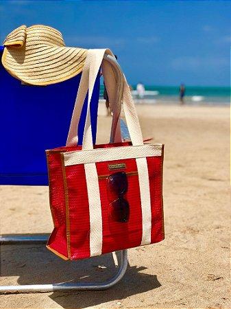 Bolsa de Praia Vermelha Tela Box