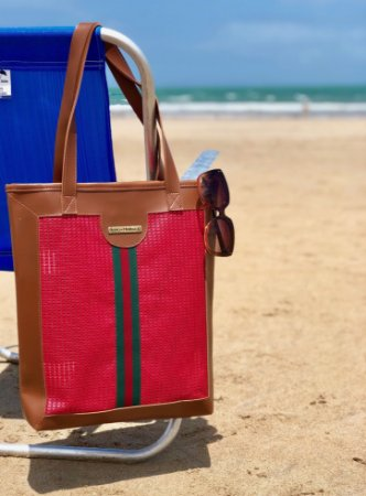 Bolsa de Praia Vermelha Tela Slim